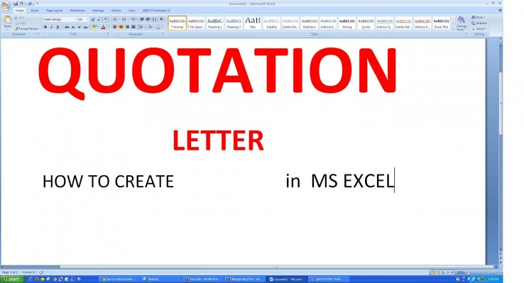 How To Make Quotation Letter In Microsoft Excel | Mct Training