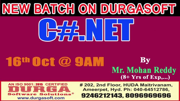 New Batch On C Net By Mr Mohan Reddy On 16th Oct 9am At